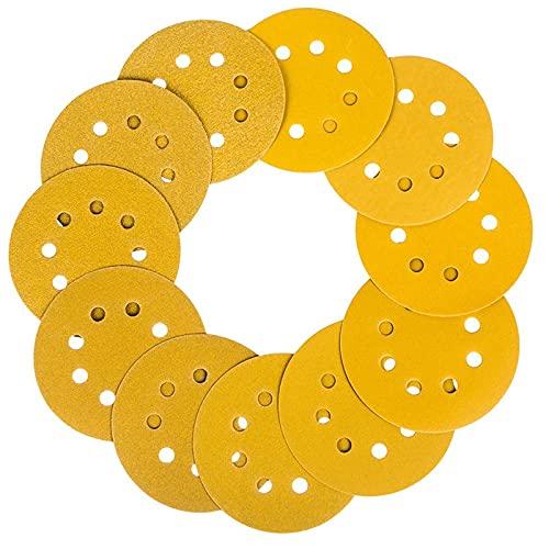 Orbital Sanderskivor Explosivt flockningsark 5 tum 8-håls gult sandback Flocking Självhäftande skiva Slippapper Polerat pneumatiskt flockningsark (Color : Yellow)