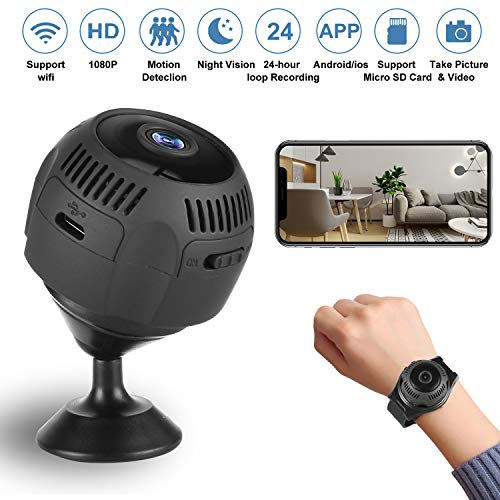 WiFi Camera, 1080 HD Wireless Hidden Cameras, Mini WiFi Camera with Video, Nanny Cam with Night Vision and Motion Detection for Indoor Outdoor Office Home Car