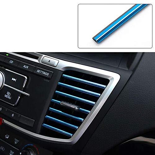 4X10 PCS Decorazione Interni Auto, Modanature Decorative per l'uscita Aria Condizionata del Condizionatore Auto, DIY Universale Auto Modanatura Flessibile Strisce Insiemi Decorativi (Blu+Blu Ghiaccio)