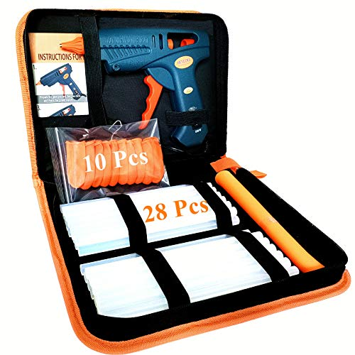 60/100W Hot Glue Gun Full Size with Carry Bag and 28 Pcs Hot Glue Sticks, Dual Power High Temp Melt Glue Gun Kit for DIY Arts Craft Projects, Home Quick Repairs
