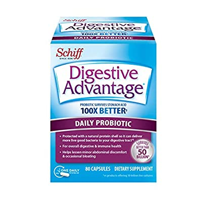 Daily Probiotic Capsule - Digestive Advantage 80 Capsules, Survives 100x Better than regular 50 billion CFU, Lessens Bloating, Calcium, Promotes Digestive Health and Gut Flora