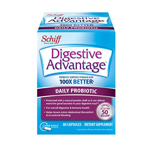 Daily Probiotic Capsule - Digestive Advantage 80 Capsules, Survives 100x Better, Lessens Bloating, Calcium, Promotes Digestive Health and Gut Flora