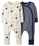 Moon and Back by Hanna Andersson Baby Boys Organic 2 Pack Long Sleeve Romper, Ecru Multi Star, 3-6 months
