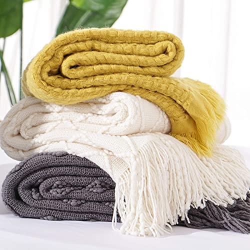 EMME - Manta de punto para sofá cama, 127 x 152 cm, suave, acogedora y ligera, decorativa con borlas, cálida manta tejida para todas...