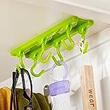 BUCKLE UP 6 Hooks Plastic Cabinet Ceiling Hanger (Standard Size, Assorted Colour)