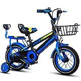 FDSAG Niños Bicicleta con Desmontable Formación Rueda, 2-9 Años De Edad Chico Y Niña Bicicleta 12-14-16-18 Pulgadas Bicicleta De Montaña con Cesta Y Asiento Trasero, Azul,14 Inch