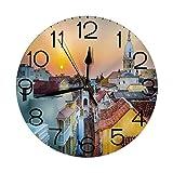 GoodLucke Relojes de Pared Redondos Puesta de Sol, Vista sob