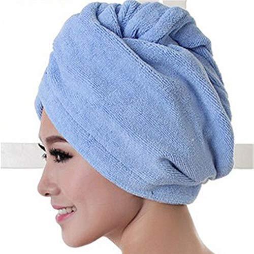 MAWA Toalla de baño de Microfibra Secado de Cabello Secado rápido Toalla de baño para Dama Ducha Suave para Mujer Hombre Turbante Abrigo para la Cabeza Herramientas de baño - Azul