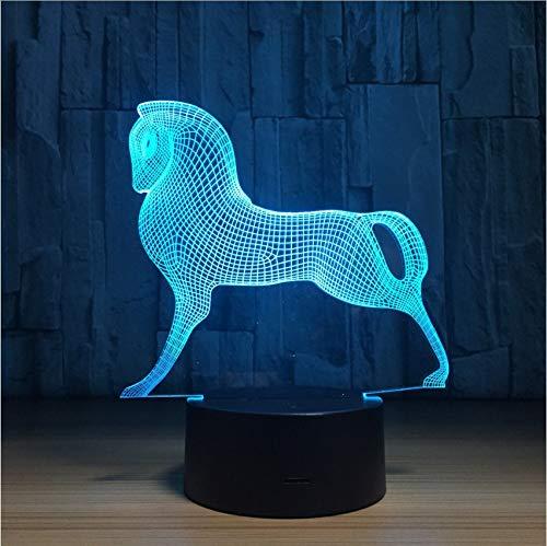 Djkaa Poney Cheval 3D Led Lampe 7 Couleurs Changer Led Usb Acrylique Petite Veilleuse Lampe D'Ambiance Intérieure Pour Enfants Jouets Et Cadeaux Du Nouvel An