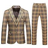 Traje de cuadros para hombre de 3 piezas Slim Fit Casual chaqueta de dos botones Trajes Blazer Chaleco Pantalones Amarillo 2032#amarillo L