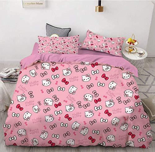 QWAS Hello Kitty - Juego de cama (funda nórdica y 2 fundas de almohada de 1,200 x 200 cm y 50 x 75 cm), diseño de Hello Kitty