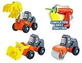 👷 3in1 Spielzeug Bagger,Walze,Kran Baufahrzeuge Konstruktionsspielzeug Baukasten Set mit...