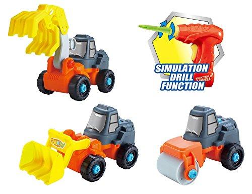 👷 3in1 Spielzeug Bagger,Walze,Kran Baufahrzeuge Konstruktionsspielzeug Baukasten Set mit Kinderwerkzeug 👷
