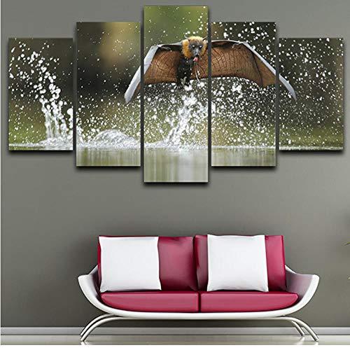 Wuyii Decoratie Poster Lijsten voor de woonkamer 5 panelen vliegen dier modern schilderij op canvas muurkunst afbeeldingen Hd gedrukt 20x35cmx2/20x45cmx2/20x55cmx1