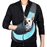 WOYYHO Pet Dog Sling Carrier Puppy Sling Bag Small Cats Dogs Sling Adjustable Strap Breathable Mesh for Outdoor Travel(S(up to 5 lbs), Cyan)