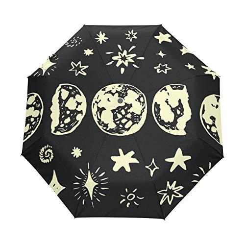 JinDoDo Paraguas plegable automático abstracto luna estrellas lluvia paraguas impermeable impermeable viaje para mujeres hombres niñas niños