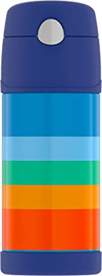 THERMOS Funtainer Kids Straw Bottle (12 Ounce, Cool Retro Stripe)