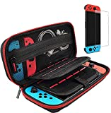 Hestia Goods Switch Case and Tempered Glass Screen Protector for Nintendo Switch - Deluxe Hard Shell Travel Carrying Case, Pouch Case for Nintendo Switch Console & Accessories, Streak Red