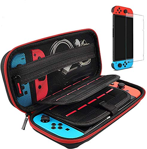 Hestia Goods Switch Case and Tempered Glass Screen Protector Compatible with Nintendo Switch - Deluxe Hard Shell Travel Carrying Case, Pouch Case for Nintendo Switch Console & Accessories, Streak Red