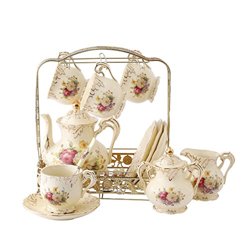 ufengke 11 Piece Creative European Luxury Tea Set Ivory Porcelain Ceramic Coffee Set With Metal Holder Hand Painted Red And White Rose Flower For Wedding Decoration