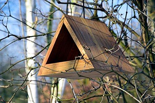 Luxus-Vogelhaus 46620e Modernes dreieckiges Eichenholz-Futterhaus mit Kordel-Aufhängung - 4