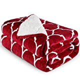 """Reepow Sherpa Weighted Blanket Queen Size 60""""×80"""" 15lbs, Warm Fuzzy Heavy Bed Blankets with Moroccan Pattern, Premium Gift and Prize Idea, Designed for 140-190 lbs Adults - Red"""