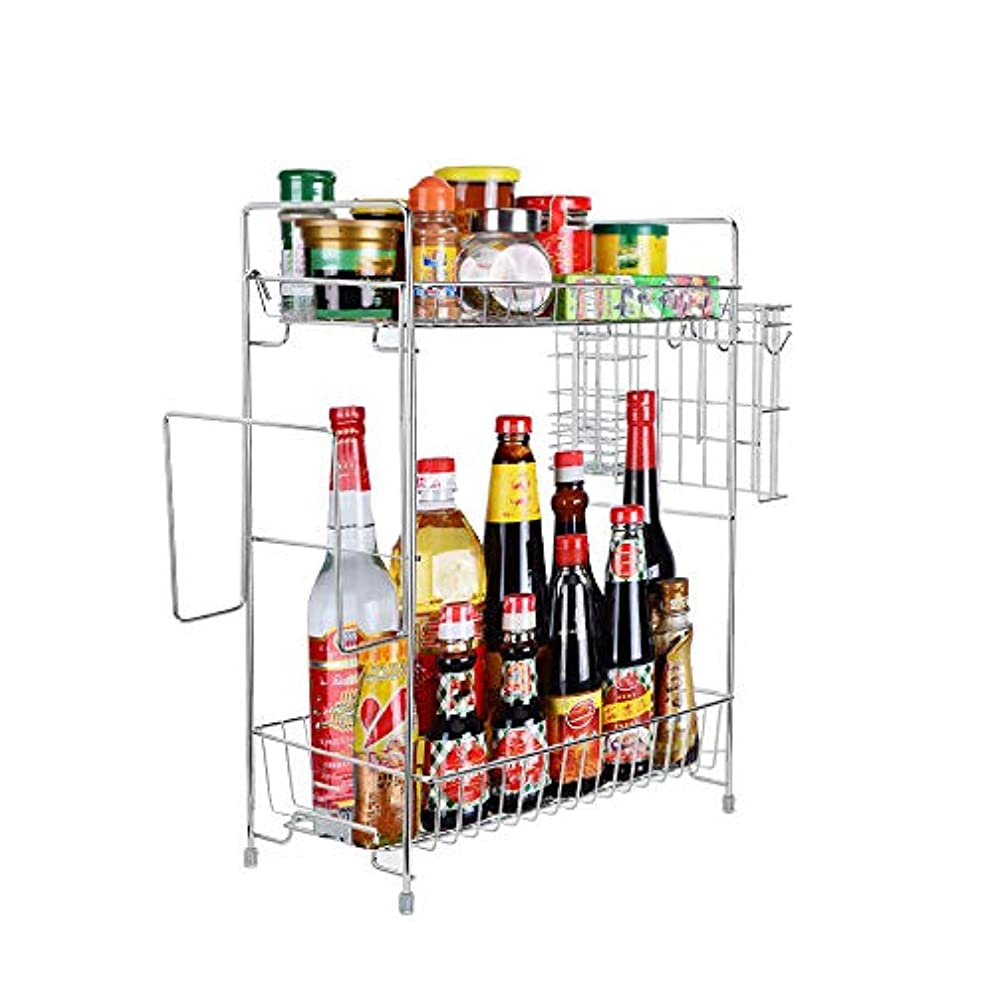 Hunzed Kitchen Spice Rack Organizer/2-Tier Standing Rack/Kitchen Bathroom Bedroom Countertop Storage Organizer Spice Jars Bottle Shelf Holder Rack (Silver)