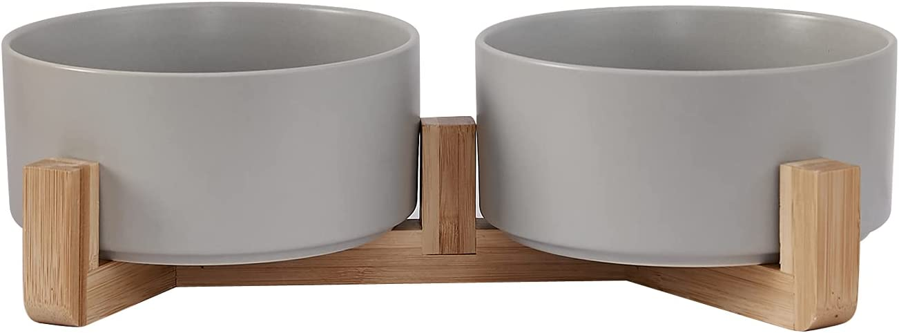 Sinhenry Ceramic Pet Food Bowl for Cat or Small Dog - No Spill Food and Water Bowl Set with Wood Stands-28 Ounce Each Bowl