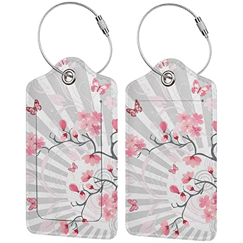 PATINISA Luggage Tag with Privacy Cover,Cherry Blooming Butterflies On Stripes Sun Rays Curvy Lines Ornamental Artwork,Baggage Labels, Suitcase ID Tags for Travel Suitcases Handbags,(4 pcs)