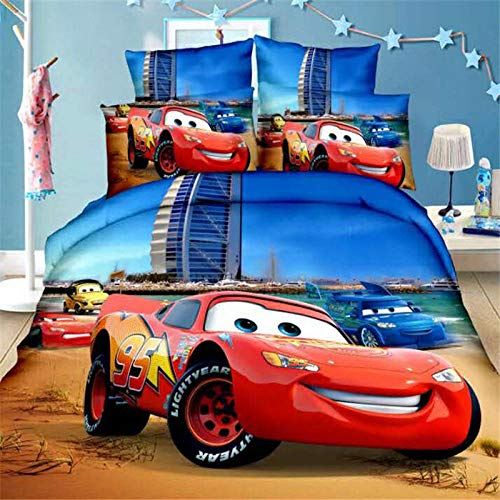 Fadaseo King Toddler Duvet Cover Set 240 X 220 Cm 3D Printing Cartoon Car 3 Pieces Bedding Set. Easy Care And Super Soft Cotton Design.With 2 Pillowcases Hypoallergenic