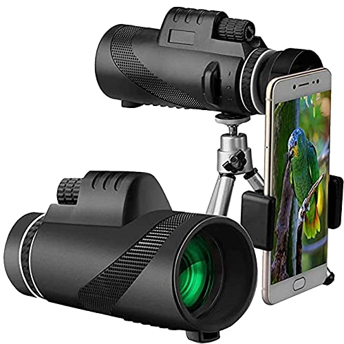 Telescopio Monocular 40x60, Telescopio monocular para teléfono móvil, Monocular HD de Alta Potencia con Soporte para teléfono y trípode, Diseño de Lente de Prisma BAK4, para Viajes, observación d