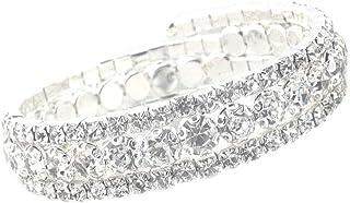JSEA Womens Wrap-Around 3 Strands Spiral Rhinestone Bracelet Bangle Ladies Jewelry