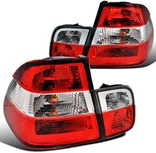 Spec-D Tuning LT-E464RPW-APC Bmw E46 4Dr 320I 328I Red Clear Chrome Tail Lights Trunk Lamps