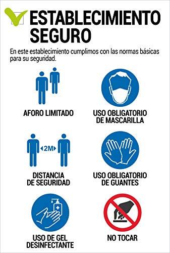 Cartel resistente PVC - ESTABLECIMIENTO SEGURO - Señaletica COVID 19 - Señaletica de aviso - ideal para colgar y advertir