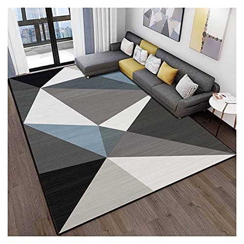 XXN Alfombra moderna y sencilla para salón, dormitorio, sofá, mesa de café, fácil de limpiar, 140 x 200 cm, melodía geométrica