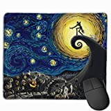 Mouse Pad Customized with Stitched Edge, The Nightmare Before Christmas The Starry Night Mouse Mat, Non-Slip Rubber Base Gaming Mousepad for Laptop, Computer & PC 11.8 X 9.8 Inch.