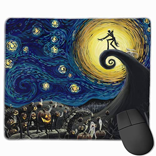 Mouse Pad Customized with Stitched Edge, Night Before Christmas The Starry Night Mouse Mat, Non-Slip Rubber Base Gaming Mousepad for Laptop, Computer & PC 11.8 X 9.8 Inch.
