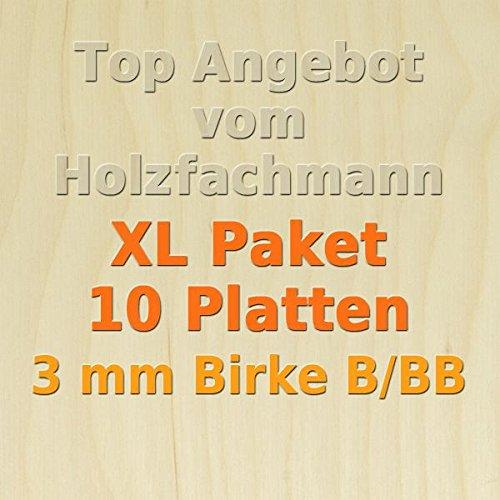 XL Paket 10 Platten 3mm Birke Sperrholzplatte Qualität B/BB (76 x 50cm) GP 14,73 €/m²
