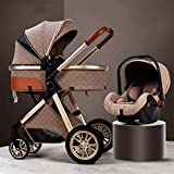 GSJZ 3 in 1 Baby Stroller Carriage Foldable Luxury Pushchair Stroller Shock Absorption Springs High View Pram Baby Stroller with Mommy Bag and Rain Cover (Khaki)