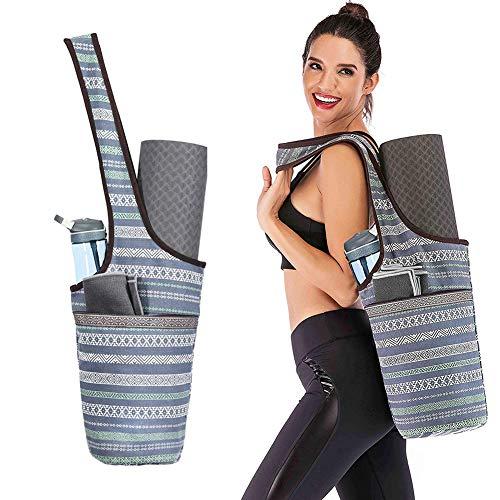 Bolsa para esterilla de yoga con bolsillo de gran tamaño y bolsillo con cremallera, bolsa de transporte de yoga con soporte para botella de agua,