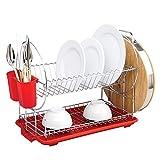 LWAJ Estante de Drenaje de Cocina De 2 Capas, Estante de Escurridor de Cocina de Metal Recubierto de Plástico Antioxidante Kitchen Craft, 42.5 X 36 Cm (16.7'x 14.1') - Rojo