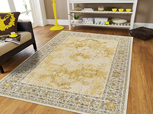 Modern Distressed Area Rug Carpet Vintage Rugs for Living Room (Medium 5'x8', Yellow)