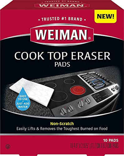 Weiman Cooktop Eraser Pads  10 Pads  NonScratch  Lifts and Removes the Toughest Burned on Food