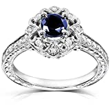 Kobelli Antique Round-cut Sapphire and Diamond Engagement Ring 3/4 Carat (ctw) in 14k White Gold, Size 7