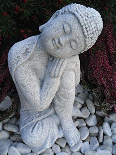 Steinfiguren Spicker Steinfigur Buddha, 168/5 Gartenfigur Steinguss Antikweiß