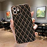 Funda de teléfono con patrón geométrico de Diamante Dorado de Lujo para iPhone 12 Pro 11Pro XS MAX XR X 7 8 Plus 12mini 12 Funda Trasera de Silicona Suave para iPhone 8 T1 Negro