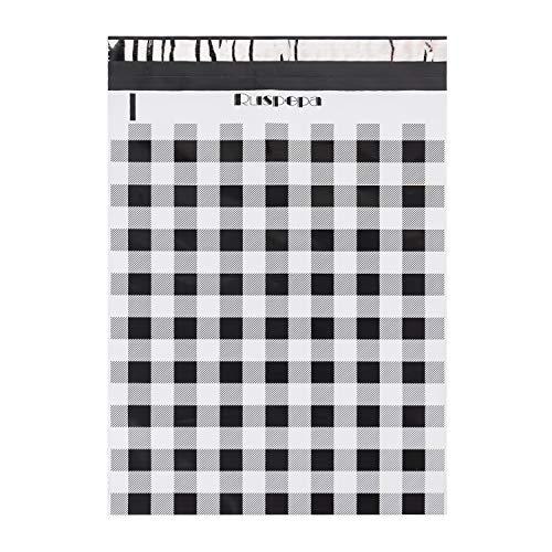 RUSPEPA Versandtaschen, 12 x 15,5 cm, 3 mm dick, schwarz-weiß, kariert, selbstklebende Versandtaschen mit leicht zu öffnendem Zuglasche, 50 Stück