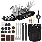 Firtink Kit de reparación de bicicleta 16 en 1 multifunción con kit de reparación, kit de reparación portátil autoadhesivo para pavimentos de manguera