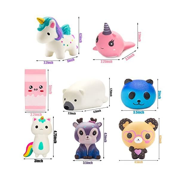 BeYumi Slow Rising Toy, Unicorn, Panda, Deer, Cat Squishy Toy, Kawaii Jumbo 10 Pcs Cream Scented Simulation Cute Animal & Food Squeeze Toys for Collection Gift, Decorative props Large or Stress Relief 7