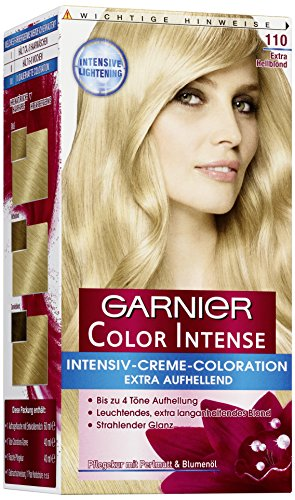 Garnier Color Intense, 110 Extra Hellblond / Dauerhafte Intensive Creme Coloration für permanente Haarfarbe (mit Perlmutt und Traubenkernöl) 3 x 1 Stück